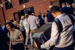 Accordionist Jonny at drinks reception - Gypsy Jazz