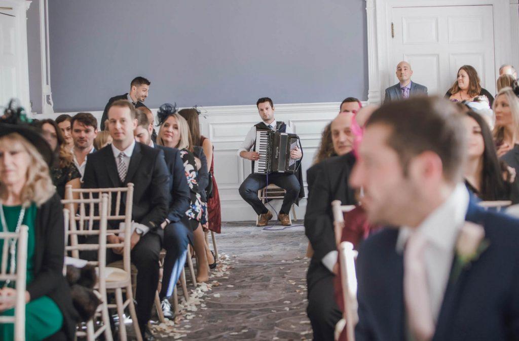 Accordionist Jonny at wedding ceremony - Gypsy Jazz