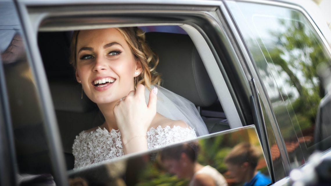 Bride in Car, Wedding