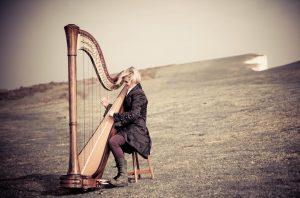Brighton Harpist at Beachy Head