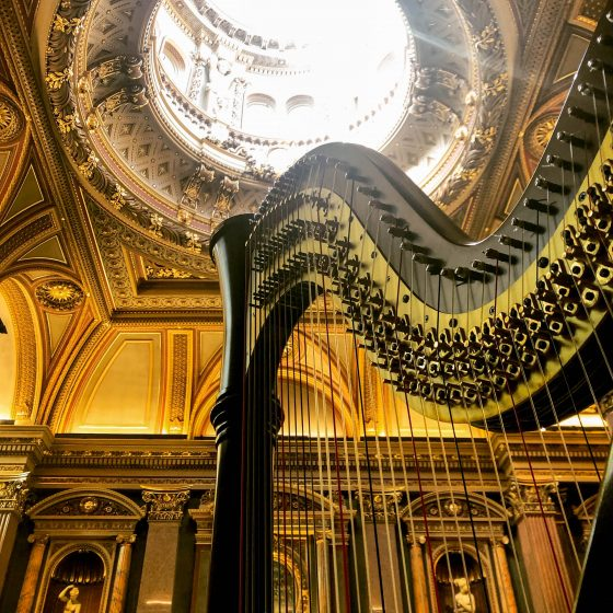 Harp and ornate ceiling