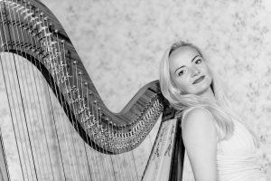 Leicester Harpist - Portrait BW