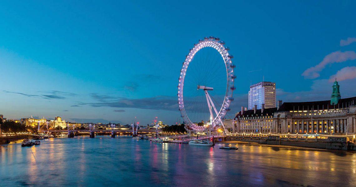 London Eye on Thames at Night