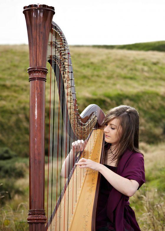 scottish harpist outdoors
